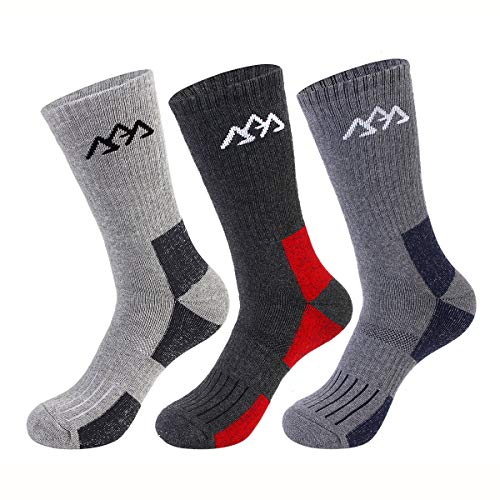 SPLF 3 Pairs Men's Hiking Socks, Full Thickness Cushion Crew Socks for Trekking Camping Climbing Outdoor Sports