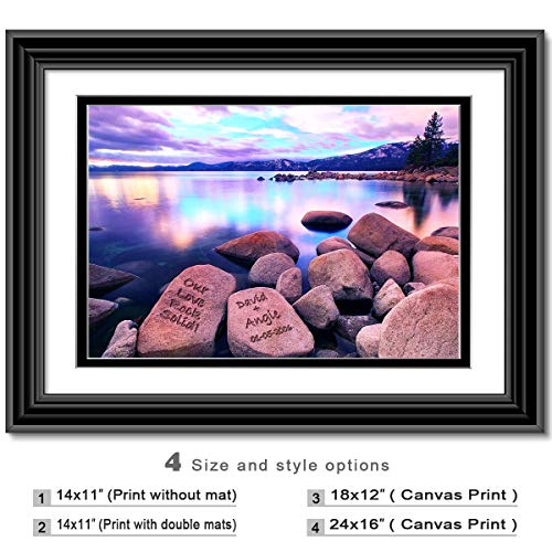 (Love rock solid - Personalized artwork with Couple's Names on it, wedding Anniversary gift, Valentine's Day gift.)