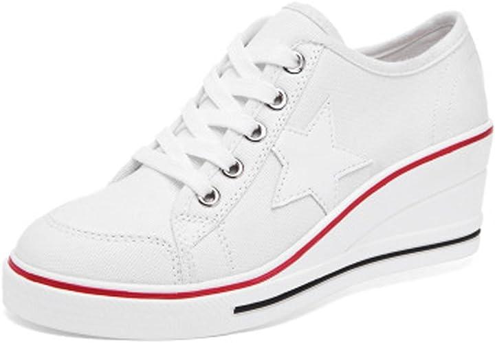 Femme Baskets Mode en Toile Talon Compensé Chaussures de Sport Fermeture Lacets Compensées Sneakers Tennis Casuel Toile Chaussure
