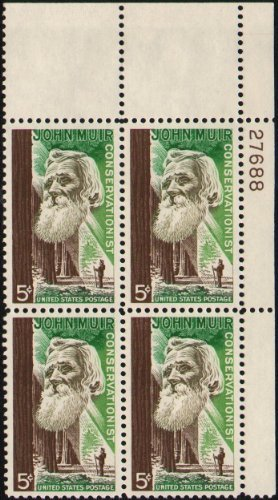 1964 JOHN MUIR ~ CONSERVATIONIST #1245 Plate Block of 4 x 5 cents US Postage Stamps by United States Postal Service (USPS) United States Postal Service Postage