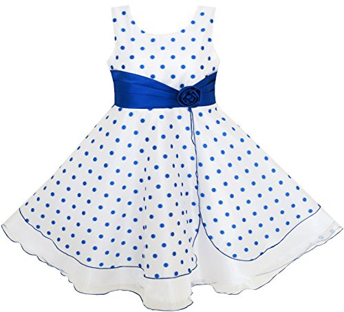 HX54 Girls Dress Polka Dot Flower Tulle Party Unique Design Blue Size 9-10 (Kids Christmas Dress)