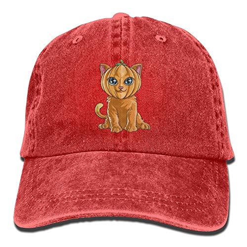 Halloween Pumpkin Cat Denim Hat Adjustable Men Plain Baseball Cap -