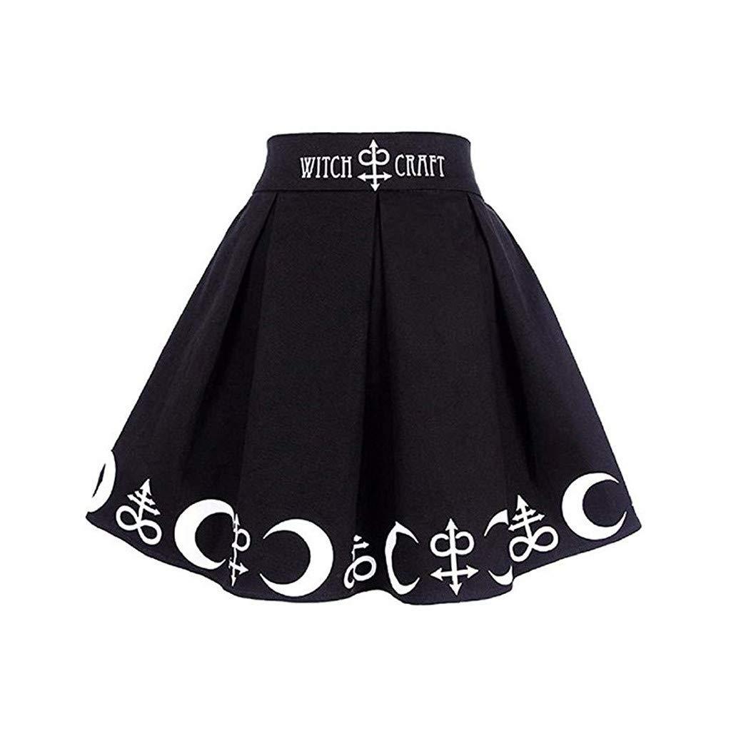 Falda Plisada G/óTica De Cintura Alta Falda Corta Mujer Rodilla Falda Vintage Negra Estampado De Luna Imprimiendo De Punk Mini Falda El/áStica