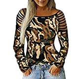 DAYPLAY Clothes for Women Autumn Winter Camouflage Long Sleeve Bandage Tops Ladies Bloues Tee Shirts Sale (Camouflage, M)