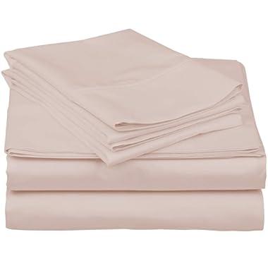 Thread Spread True Luxury 100% Egyptian Cotton - Genuine 1000 Thread Count 4 Piece Sheet Sets - Fits Mattress Upto 18'' Deep Pocket (Queen, Blush)