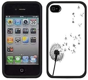 Dandelion Wishing Flower Handmade iPhone 4 4S Black Case