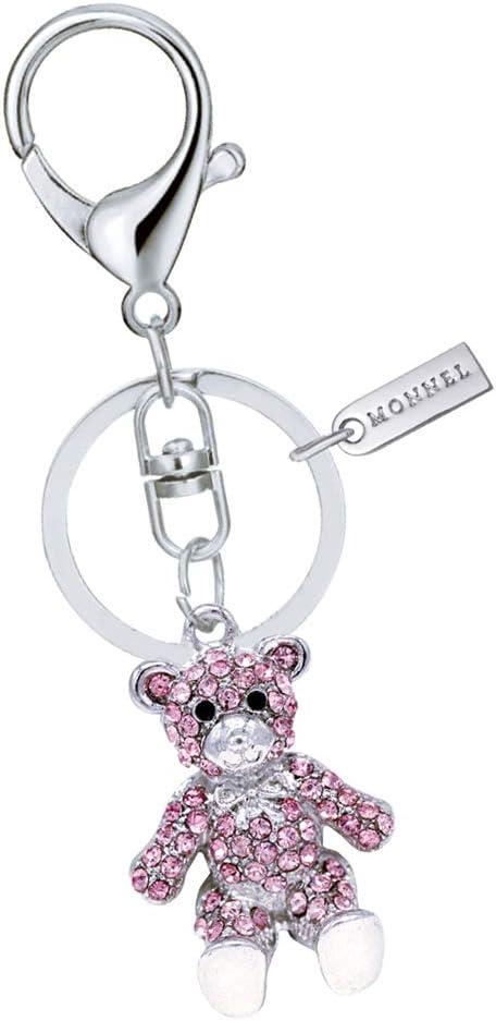New Pretty Teddy Bear Rhinestone Crystal Key Ring Chain Bag Charm Pendant Gift