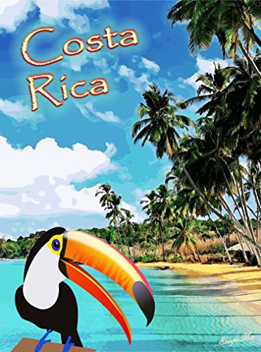(A SLICE IN TIME Costa Rica Beach Rainforest Toucan Bird Central America Travel Poster Advertisement Art Print. Measures 10 x 13.5 inches)