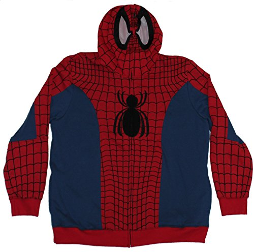 Spider-man (Marvel Comics) Mens Hoodie- Costume Front Fat Spider Logo (Small) Red