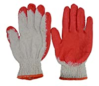 Hub Special, Construction Safety Working Gloves With Red Latex Rubber Palm Coated