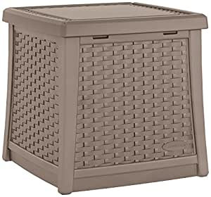 Suncast ELEMENTS End Table with Storage, Dark Taupe