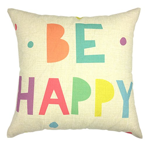 YOUR SMILE Phrase Square Decorative Throw Pillows Case Cushion Covers Shell Cotton Linen Blend (18x18, Color #17)