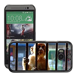 GoGoMobile Slim Protector Hard Shell Cover Case // M00124384 Monkey Encaged Bars Sunlight Caged // HTC One M8