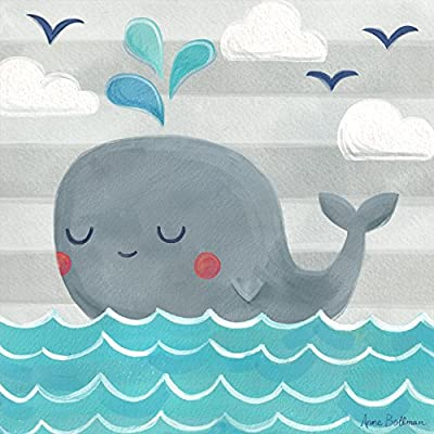 Oopsy Daisy Fine Art for Kids Let's Set Sail Whale Canvas Wall Art by Anne Bollman