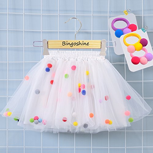 Bingoshine 4 Layers Soft Tulle Puff Ball Girls Tutu Skirts with Silky Lining Colorful Princess Costumes for Dressing Up. (White, M,1-3 (Princess Dressing Up)