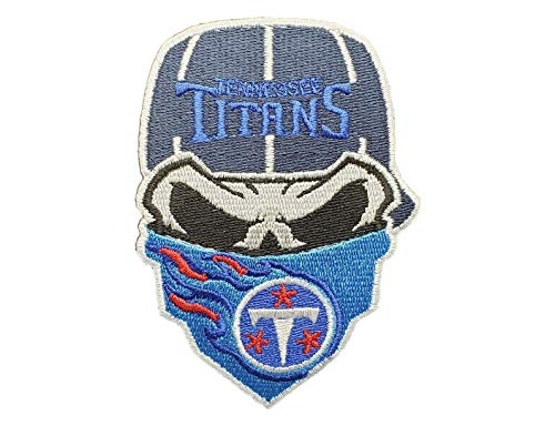 Tennessee Titans Iron On Skull with Bandana Patch 3.6X 2.5 inches