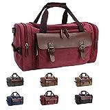 Queenie - Large Unisex Canvas Overnight Travel Tote Luggage Weekend Duffel Bag Shoulder Bag Gym Bag (Model 8830 Burgundy)