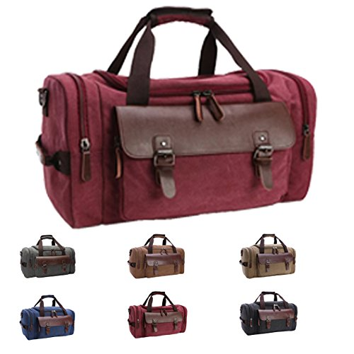 Cheap Queenie – Large Unisex Canvas Overnight Travel Tote Luggage Weekend Duffel Bag Shoulder Bag Gym Bag (Model 8830 Burgundy)