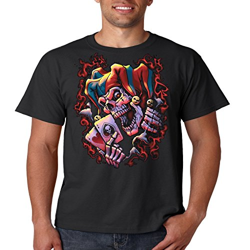 Evil Clown T Shirt Wicked Jester Liquid Blue Mens Tee S-5XL (Black, 5XL)