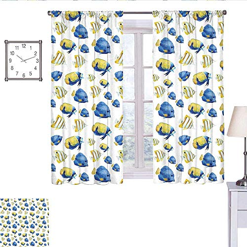 WinfreyDecor Fish Window Curtain 2 Panel Group of Flat Bodies Exotic Oceans Vibrant Color Patterns Abstract Illustration Wall Curtain Yellow Blue White W63 x L45