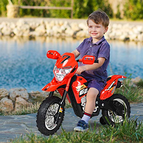 Costzon Ride On Motorcycle for Kids, 6V Battery Powered Electric Motorcycle with Lights, Music, Training Wheels, Pedal, Children Ride on Toy (Red)