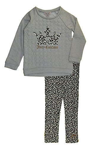 Juicy Couture Little Girls' French Terry Top and Pants Set (4T) Oatmeal