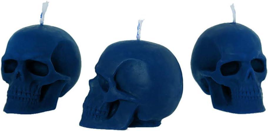 in pura cera dapi biologica Blu a forma di teschio NKlaus Set di 3 candele a forma di teschio