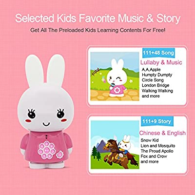 alilo Honey Bunny 8GB MP3 Player with Bluetooth Kids Learning Toys Bedtime Story Night Light (Bilingual Pink): Toys & Games