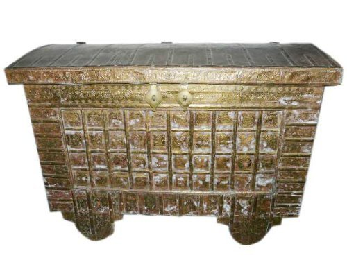 18c Antique Hope Chest on Wheels Brass Cladded Trunk Buffets India Pitara by Mogul Interior