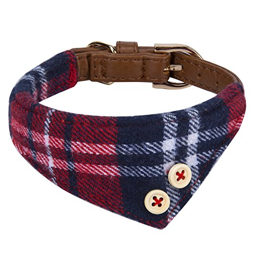 StrawberryEC Puppy Collars for Small Dogs Adjustable Puppy Id Buckle Collar Leather. Cute Plaid Red Bandana Dog Collar (Bandana-Red-Grid)