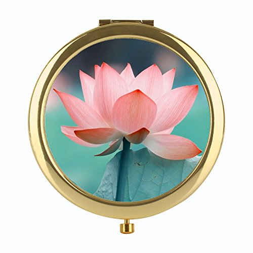 FUTUROO Rounded Folding Pocket Mirror Round Compact Mirror Double-sided Makeup Mirror Design For Traveling - Gold Lotus Flower
