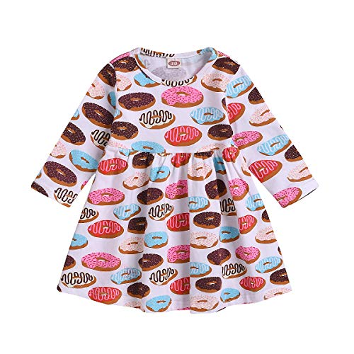 Toddler Kids Baby Girls Fall Dress Donut Print Skirt Long Sleeve Outfits Party Clothes Set (Donut, 12 Months)