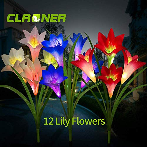 CLAONER Solar Garden Stake Lights, 3 Pack Solar Flower Lights Outdoor with 12 Lily Flowers Waterproof Muti-Color Changing LED Lights for Outdoor Decorative Like Garden, Yard, Patio, Walkway, Pathway