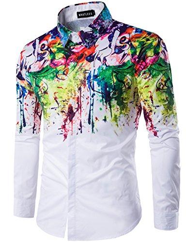 Pix Up Sticks (Whatlees Mens Geek Psychedelic Splash-ink Printed Slim Fit Long Sleeve Dress Shirts, T400, Asian XXL(US)