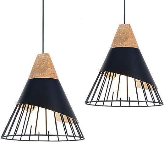 2x Suspension Luminaire Industrielle Bois Metal Design Lampe