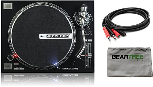 Reloop RP7000 Direct Drive High Torque Turntable in High Gloss Black w/ Cleaning Cloth and Cable by Reloop