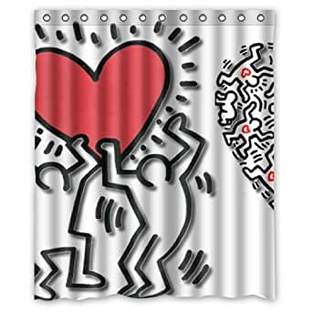 Keith haring love heart graffiti art custom - Keith haring shower curtain ...