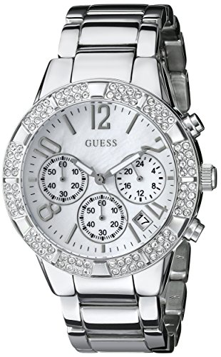 GUESS Women's U0141L1 Dazzling Silver-Tone Sporty Crystal Chronograph Watch