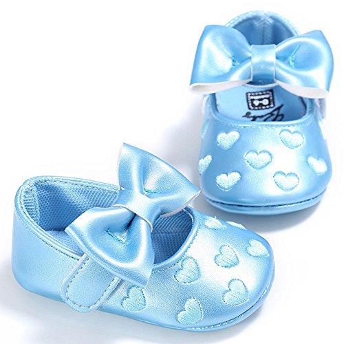 hibote Neugeborene Baby Mädchen Weiche Leder Prinzessin Big Bowknot Kleinkind Prewalker Schuhe Red 6-12M blau