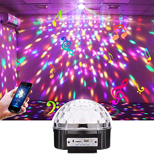 ights Dj Stage Lights with Remote Control,Bluetooth Speaker,SD Card and U Disk Slot,9W Music Ball Light,220V,Chargeable ()
