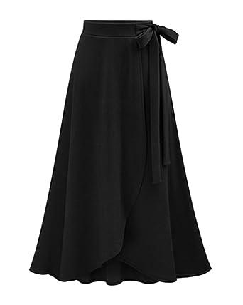 7b0009a738b91e AnyuA Femmes Jupe Longue Portefeuille Taille Haute Casual avec Ourlet  Irrégulier