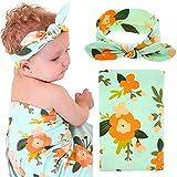 Baby Swaddle Blanket Wraps With Headband, Newborn Receiving Blankets, Green Flower