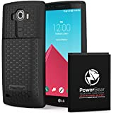 PowerBear LG G4 (BL-51YF) 6500mAh Extended Battery & Back Cover & Protective Case - Black [Screen Protector Included]
