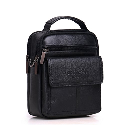 Meigardass Men's Genuine Leather Small Messenger Bag Shoulder Bag Briefcase Handbag (black) by Meigardass (Image #7)
