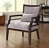 Grey Standard Accent Chair with Accent Pillow Made From Wood and Fabric, Merlot Finish Contemporary Style Included Cross Scented Candle Tart