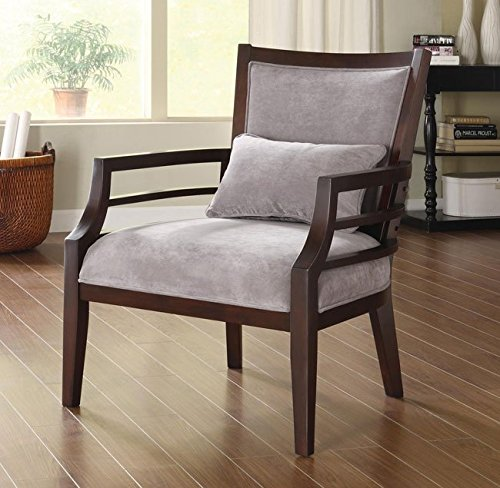 Grey Standard Accent Chair with Accent Pillow Made From Wood and Fabric, Merlot Finish Contemporary Style Included Cross Scented Candle Tart (Contemporary Merlot Finish Wood)