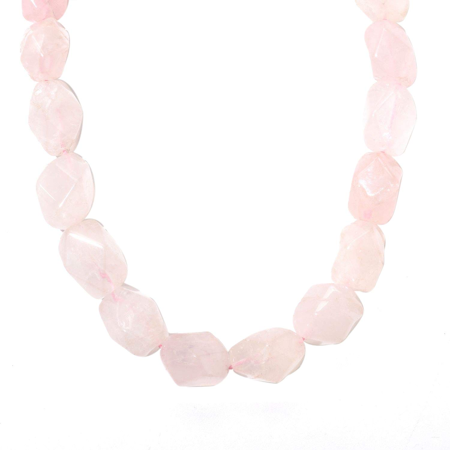 Sterling Silver with Natural Rose Quartz Nugget Bead Necklace-18 Inch by V3 Jewelry
