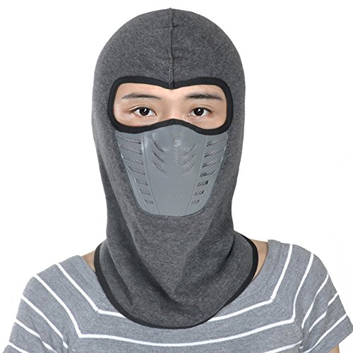 Leories Winter Fleece Windproof Ski Mask Warm Full Face Cover Anti-dust Balaclava Grey