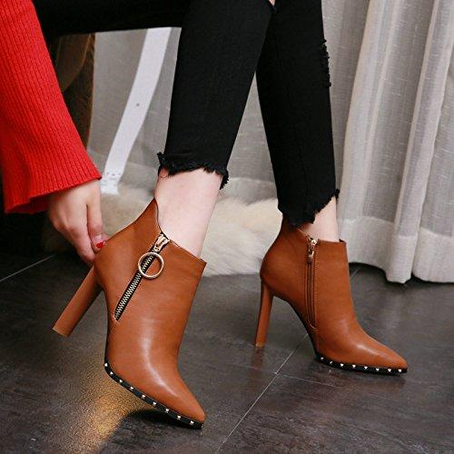 Con Extremo Botas Heeled Remache Moda De AJUNR De Marea Británico De Femenino Grueso Martin Camel De Con Zapatos Mujer Arranque Zapatos De Estilo Invierno High Super Retro Botas Algodón De xzaTBSzqw