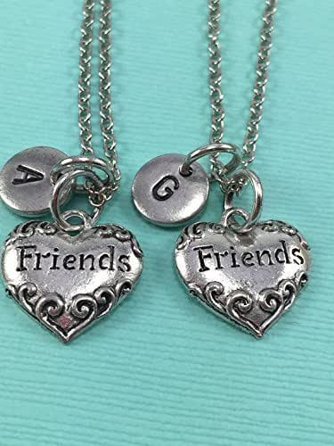 friends necklace best friend necklace heart